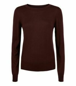 Burgundy Fine Knit Crew Neck Jumper New Look