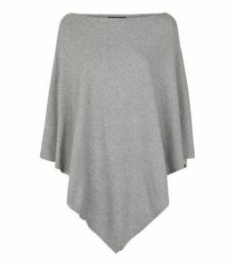 Grey Knit Lightweight Poncho New Look