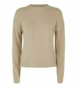 Camel Fluffy Jumper New Look