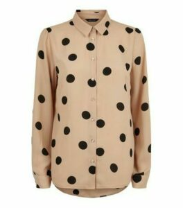 Camel Spot Print Long Sleeve Shirt New Look