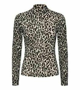 Light Brown Flocked Leopard Mesh Top New Look