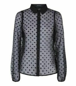 Black Spot Organza Puff Sleeve Shirt New Look