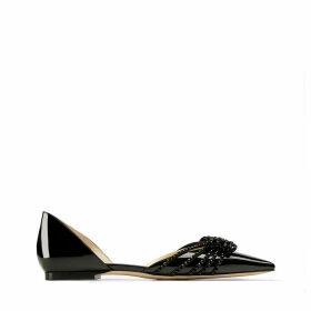 KAITENCE FLAT Chaussures plates à bout pointu en cuir verni noir et daim à ornements de sequins argentés et nauds