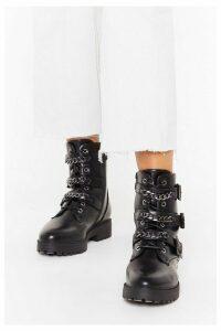 Womens Triple Chain Strap Biker Boots - Black - 8, Black