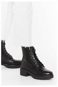 Womens Cleated Arch Lace Up Pu Biker Boots - Black - 8, Black