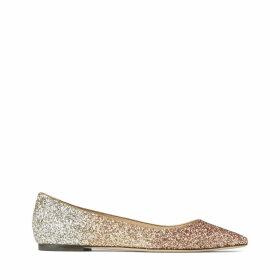 ROMY FLAT Flache Schuhe aus Glitzergewebe mit Dégradé in Rose Gold, Gold und Silber