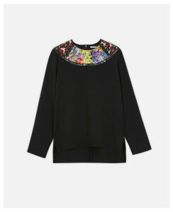 Stella McCartney Black Patchwork Stretch Cady Top, Women's, Size 14