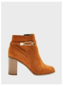 Womens Wide Fit Bubble Tan Hardware Detail Ankle Boots, TAN