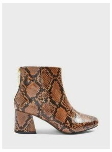 Womens Wide Fit Brixton Brown Snake Print Ankle Boots, BROWN