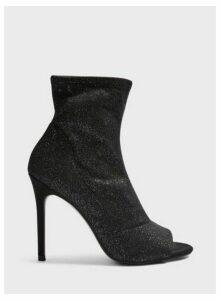 Womens Apollo Silver Peeptoe Heeled Boots, SILVER