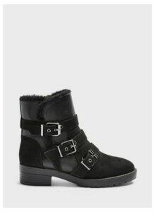 Womens Bounce Black Faux Fur Foldover Buckle Ankle Boots, BLACK