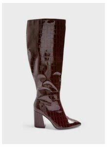 Womens Olympia Burgundy Crocodile Design Shaft Knee High Boots, BURGUNDY