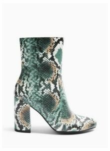 Womens Bamboo Green Snake High Shaft Ankle Boots, PALE GREEN