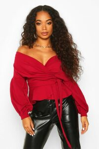 Womens Petite Off The Shoulder Blouse - red - 10, Red