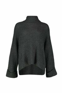 Womens Tall Turn Up Cuff Rib Jumper - grey - XS, Grey