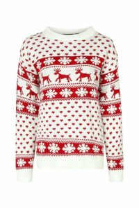 Womens Tall Reindeers Christmas Jumper - white - M/L, White