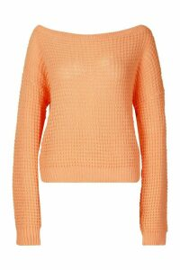 Womens Tall Slash Neck Crop Jumper - Orange - S, Orange