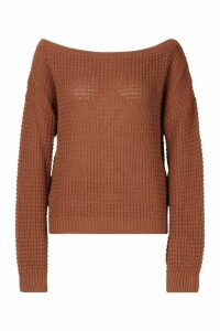 Womens Tall Slash Neck Crop Jumper - beige - L, Beige