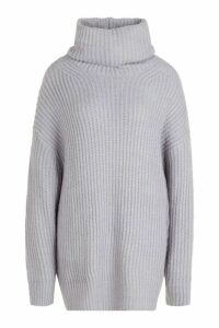 Womens Tall Oversized Roll Neck Jumper - grey - M/L, Grey