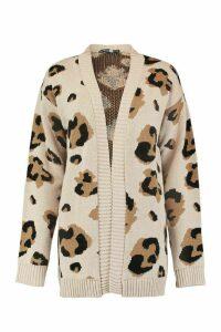 Womens Tall Leopard Cardigan - beige - M/L, Beige