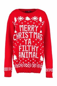 Womens Tall Filthy Animal Christmas Jumper - red - S/M, Red