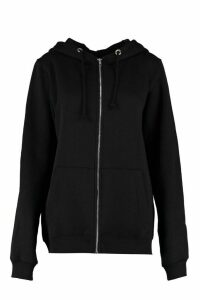 Womens Tall Zip Through Hoodie - black - 16, Black