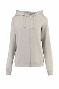 Womens Tall Zip Through Hoodie - grey - 12, Grey