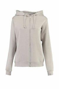 Womens Tall Zip Through Hoodie - grey - 14, Grey