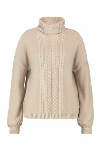 Womens Plus Cable Knitted Roll Neck Jumper - beige - 18, Beige