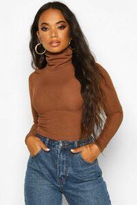 Womens Petite Rib Long Sleeved roll/polo neck Top - brown - 14, Brown