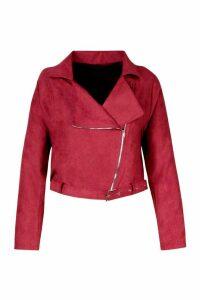 Womens Plus Belted Suedette Crop Biker Jacket - red - 20, Red