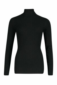 Womens Roll Neck Rib Knot Jumper - black - M, Black