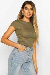 Womens Basic Ribbed T-Shirt - Green - 16, Green