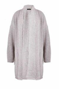 Womens Plus Oversized Chunky Cardigan - grey - 16, Grey