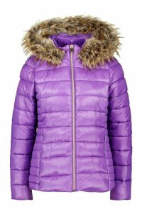 Womens Faux Fur Trim Quilted Puffer - purple - 12, Purple