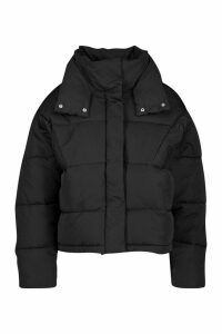 Womens Collar Detail Puffer Jacket - black - 16, Black