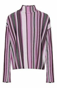 Oversized-fit sweater with turtleneck and multicoloured stripe