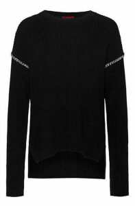 Relaxed-fit cotton sweater with chain trims