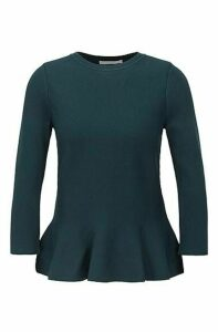 Slim-fit sweater with peplum hem and crew neckline
