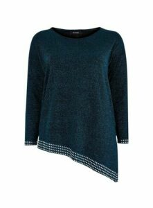 Blue Embellished Detail Asymmetric Jumper, Blue