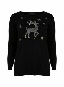 Black Sparkle Embellished Christmas Jumper, Black
