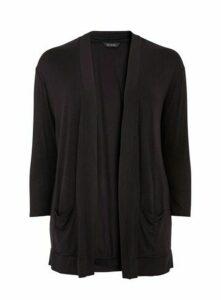 Black Long Sleeve Jersey Cardigan, Black