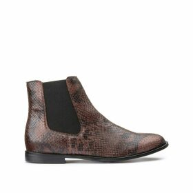 Faux Snakeskin Chelsea Ankle Boots