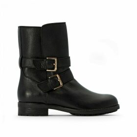 Leather Biker Boots with Straps