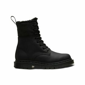 Kolbert Leather Lace-Up Boots with Faux Fur Lining