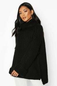 Womens Rib Knit Wide Sleeve Turn Up Cuff Jumper - black - L, Black