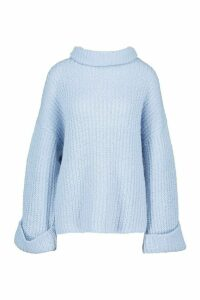 Womens Rib Knit Wide Sleeve Turn Up Cuff Jumper - blue - L, Blue