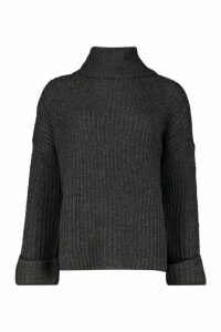 Womens Rib Knit Wide Sleeve Turn Up Cuff Jumper - grey - M, Grey