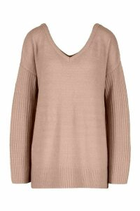 Womens Jumper With V Neck Detail Front And Back - pink - XS, Pink
