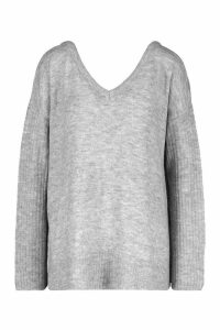 Womens Jumper With V Neck Detail Front And Back - grey - M, Grey